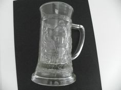FEDERAL CLEAR GLASS VINTAGE PAIR (2) 8 OZ MUGS WITH 3D EMBOSSED TAVERN SCENE