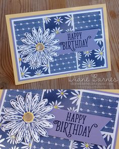 handmade daisy birthday card using Stampin Up Daisy Delight stamp set, daisy punch, & Delightful Daisy dsp & Stitched Shapes dies. Card by Di Barnes #colourmehappy 2017-18 Annual Catalogue