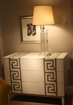 Hickory Chair-N. Hamilton Street.  Greek key hand-painted chest.  I love this so much I wish I had designed it myself! #hpmkt
