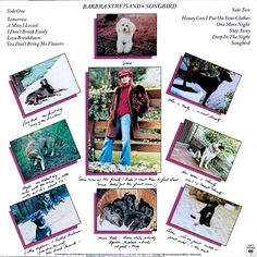 """Barbra Streisand - """"Songbird"""" (1978), backcover, beautiful pictures of her dogs."""