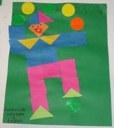 * Clown van blokjes! Laat dekinderen van verschillende kleuren blaadjes 16 vierkantjes vouwen en deze uitknippen. N.a.v een voorbeeld kunnen de kinderen al tellend een clown maken.