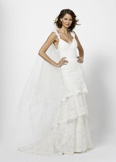 Sheath V-neck Straps Plunging V-Back Tiered Skirt Lace Wedding Dress-ws0092, $267.95