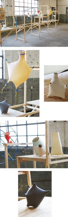 When Studioattenzione visited the Dutch Design Week, they entered the world of the C-Fabriek, a new kind of factory set up by designers and innovators. Line 02 by Thomas Vailly is a versatile and low tech way to produce fluid and organic plastic shapes. Latex sheets can be stretched, scaled and blown to create an infinity of fluid volumes. Line 02 is a dialog between 3D-modeling, rapid prototyping, craftsmanship and design.
