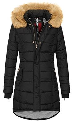 7c76022b158890 Navahoo Papaya Damen Winter Jacke Steppjacke Mantel Parka gesteppt warm  B374  B374-Schwarz-Gr.S