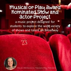 This is perfect for your drama, theatre, or general music class. This project has students researching a show (play or musical) and an actor from that show that has been nominated for  an award.