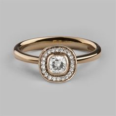 Halo 4 Cushion Cluster Ring in 14 Carat Rose Gold & Ethical Diamonds - Stephen Einhorn Engagement Rings London BUT WITH CENTRAL STONE AN AMEYTHST £1400