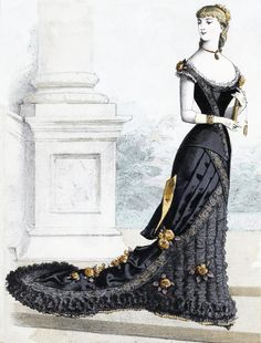 The Sum Of All Crafts: image collection-women (in black) Vintage Gowns, Mode Vintage, Vintage Ladies, Vintage Outfits, 1870s Fashion, Victorian Fashion, Vintage Fashion, Vampire Fashion, Costumes Couture