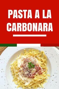 Pasta a la carbonara Pasta A La Carbonara, Penne Pasta, Salsa Carbonara, International Recipes, Deli, Food Inspiration, Italian Recipes, Tapas, Spaghetti