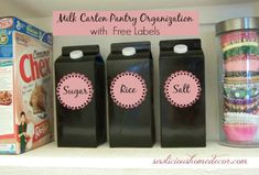 Reuse/Recycle milk cartons to organizer your pantry.  FREE Labels included. sewlicioushomedecor.com