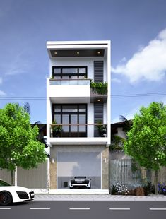 NHA PHO Blue Shades Colors, Narrow House, Roof Deck, Facade Architecture, Pho, Mansions, House Styles, Houses, Home Decor
