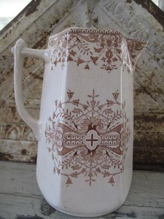 T R Boote Brown Transferware Antique Pitcher from by mimiyaya, $60.00