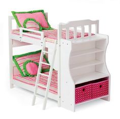"""My Twinn Doll's Heart Bunkbed by My Twinn. $134.00. Your My Twinn doll and her BFF will have sweet dreams in this bunk bed for two. Bunk bed includes wooden frame with 5 shelves, ladder, 2 storage baskets, 2 mattresses, 2 comforters and 4 pillows. Product Details: 36.5"""" L x 28.75"""" H x 18.5"""" D Additional information: * Due to the size of this item, it will ship separately if placed on an order with multiple items. * The My Twinn name and address, as well as the product descriptio..."""