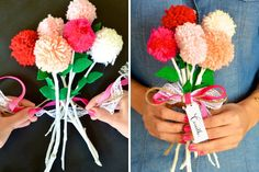 Love the bright colors in this bouquet made from branches and pom poms.
