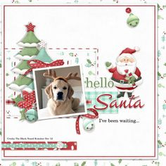 Santa claus layout with our dog under the Christmas tree. FQB - Festive Trimmings Collection