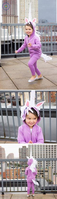 Easy DIY Unicorn Costume! Start with the Primary hoodie and PJ pants in lilac. Top with a felt horn glued to a head band, and cut strips of white felt for hair and tail. So easy and comfy. And you're left with quality basics they can wear again!