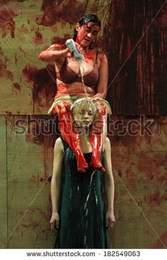 "SEPTEMBER 23, 2006 - BERLIN: Constanze Becker, Katharina Schmalenberg in a scene of the theater play ""Orestie"" (by Aischylon,director: Michael Thalheimer), Deutsches Theater, Berlin. - stock photo"