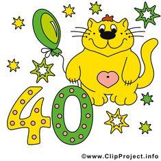glückwunsch 40 jahre - clipart, grusskarte, glückwunschkarte, Einladung