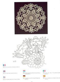 Creations Crochet D& - Malinka-Malinka Filet Crochet, Irish Crochet Charts, Crochet Diagram, Crochet Stars, Crochet Snowflakes, Thread Crochet, Crochet Stitches, Crochet Motif Patterns, Crochet Designs