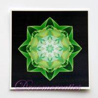 Meditatiekaart Stardust green 9 x 9 cm - www.droomcreaties.nl