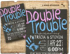 Twins baby shower invitation Twins double trouble by 2birdstudios