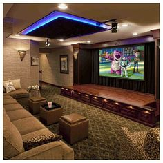 Actually media room can be more than just about movie. It may also refer to, home theater room, television room, game room and other designated bonus room for entertainment. Home Cinema Room, At Home Movie Theater, Home Theater Rooms, Home Theater Design, Cinema Theatre, Stage Design, Theatre Stage, Dream Theater, Sala Cinema
