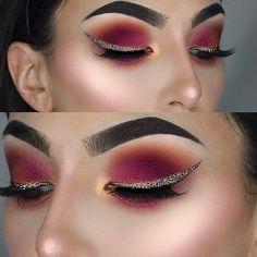 Cranberry matte Eyeshadow look. Love the alternative winged eyeliner too. Makes an interesting change from black eyeliner.