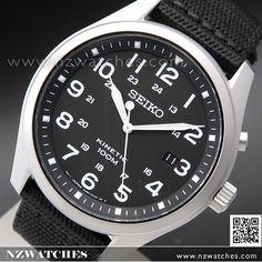 Seiko Kinetic Black Dial 100M Nylon Strap Military Watch SKA727P1, SKA727