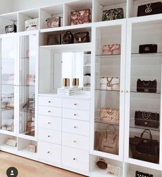 Custom Closets Greater New York This jaw-dropping bag closet was created for beauty influencer, Amra Olevic. The storage designed by California Closets New York designer , Allegra Pennisi entails a perfect boutique display and offers a ready-to-use option Walk In Closet Design, Bedroom Closet Design, Closet Designs, Bedroom Decor, 1920s Bedroom, Bedroom Wall, Bag Closet, Bed In Closet, Master Closet