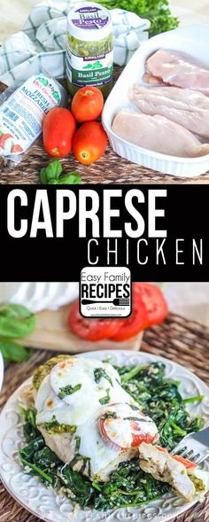Capres Chicken Caprese Chicken Ingredients boneless, skinless chicken breasts (about 2 pounds) 4 tbsp prepared pesto 2 roma tomatoes, cu. Poulet Caprese, Caprese Chicken, Poulet Keto, Quick Family Dinners, Easy Chicken Dinner Recipes, Cooking Recipes, Healthy Recipes, Drink Recipes, Free Recipes