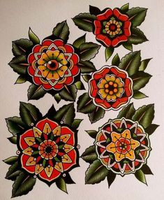 Ideas For Tattoo Rose Mandala American Traditional Girly Tattoos, Trendy Tattoos, Body Art Tattoos, Tatoos, Hand Tattoos, Traditional Mandala Tattoo, Traditional Tattoo Flash, Traditional Flower Tattoos, Mandalas Painting