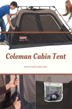 Brand:Coleman Color:Brown/Black Closure Type:Zipper Max Occupancy:4 Person Fabric Type:150D/150D Polyester/taped seams Item Weight:18 Pounds Pole Material Type:Steel Maximum Height:4.17 Feet Floor Area:562 Seasons:3 Season Camping Set Up, Tent Camping, 4 Person Tent, Cabin Tent, Floor, Closure, Seasons, Zipper, Steel
