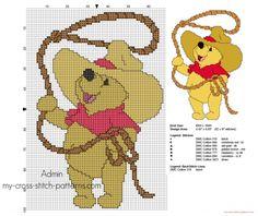 Cross stitch pattern Winnie The Pooh cowboy