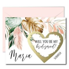 Tropical Will You Be My Bridesmaid Scratch Off Cards Asking Bridesmaids, Will You Be My Bridesmaid, Bridal Shower Planning, Scratch Off Cards, Gold Envelopes, Bridesmaid Proposal Cards, Matron Of Honour, Tropical Leaves, Or Rose