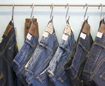 "Use our 4"" S Hooks for hanging your Jeans display!  www.StampsStoreFixtures.com  (part # 15-204ZC)"