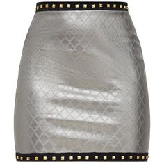 Gunmetal Faux Leather Quilted Stud Trim Mini Skirt ($35) ❤ liked on Polyvore featuring skirts, mini skirts, vegan leather skirt, studded skirts, short skirts and faux leather mini skirt