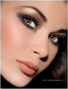 Glistening golden smokey eye. This is a stunning look to create for a romantic evening out. It's sultry and demands attention to the eye.