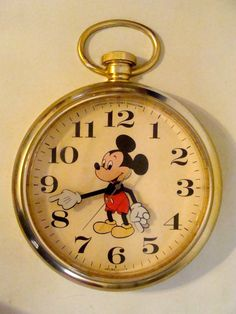 Large Vintage Disney Mickey Mouse Wall Clock All Original Giant Pocket Watch Style Working Clock. SOLD, via Etsy.