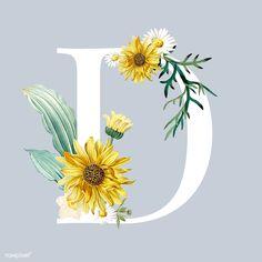 Floral Letters, White Letters, Floral Font, Watercolor Background, Floral Watercolor, Vector Background, D Letter Design, Vintage Floral Backgrounds, Flower Doodles