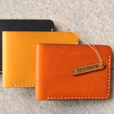 BiFold Hand Stitched Slim Wallet by bRainbowshop on Etsy, $95.00