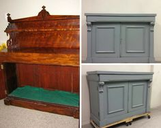 Before and after vintage buffet completely restore and updated using Superior Paints Co. s Galvanized Grey Chalk Paint Modern Farmhouse, Farmhouse Decor, Vintage Buffet, Gray Chalk Paint, Barn Wood, Restore, Restoration, Cool Stuff, Storage
