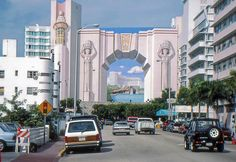 The Deco Style mural-entry on Collins Avenue showcasing The Fontainbleau Hotel at Miami's South Beach... miamiarchivesblogspot.com