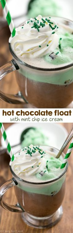 Hot Chocolate Float with only two ingredients! Use your favorite ice cream to make your favorite float recipe. Hot Chocolate Float with only two ingredients! Use your favorite ice cream to make your favorite float recipe. Yummy Treats, Delicious Desserts, Sweet Treats, Dessert Recipes, Yummy Food, Café Chocolate, Hot Chocolate Recipes, Chocolate Milkshake, Chocolate Chip Frappe