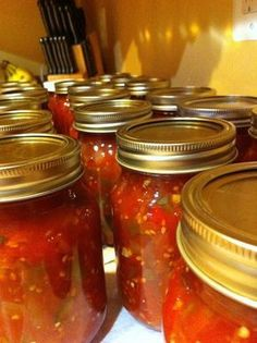 Best Salsa Recipe EVER!1/2 bushel tomatoes 5 large yellow onions 5 large green bell peppers 1/4 cup salt 1 cup sugar 1 cup vinegar 6-20 jalapenos (depending on how hot you want it) 6-10 -- mild 11-15 -- medium 16-20 -- hot optional: 1/2 cup fresh cilantro, chopped Cook till soft. Process the bottles of salsa for 20 minutes.