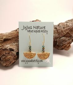 Gold Wire Wrapped Wine Cork Earrings, Crystal Beaded Earrings, One of a Kind Recycled Wine Cork Jewelry, Fun Cork Gift Idea by JujusNature on Etsy