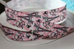 "5 yards 7//8/"" Birds In Paris Eiffel Tower Printed  Grosgrain Ribbon"