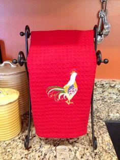 Rooster kitchen towel $10 find us on Facebook sewcutechics  #roosters #rooster kitchen towel #so cute