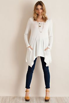 Solid Long Sleeve Tunic Top with Side Pockets and Handkerchief Hem
