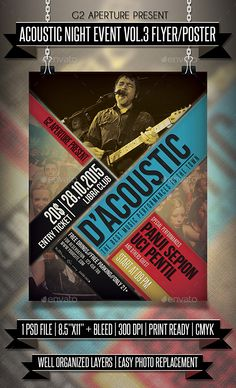 Acoustic Night Event Flyer / Poster Template PSD #design Download: http://graphicriver.net/item/acoustic-night-event-flyer-poster-vol3/13400143?ref=ksioks