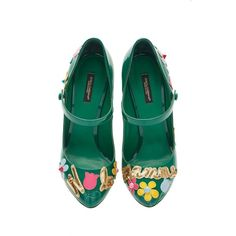 Dolce & Gabbana Emerald Patent Mary Jane Via Mamma Pump With... ($995) ❤ liked on Polyvore featuring shoes, pumps, colorful pumps, multi color pumps, green shoes, emerald green pumps and patent leather shoes