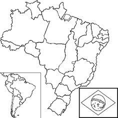 Dessin carte Brésil a colorier